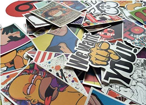 Cool Sticker 100pcs Random Music Film Vinyl Skateboard 100pcs, Multicolored