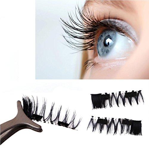 Vegas Vixen Costume (DEESEE(TM) Ultra-thin 0.2mm Magnetic Eye Lashes 3D Reusable False Magnet Eyelashes Extension (D))