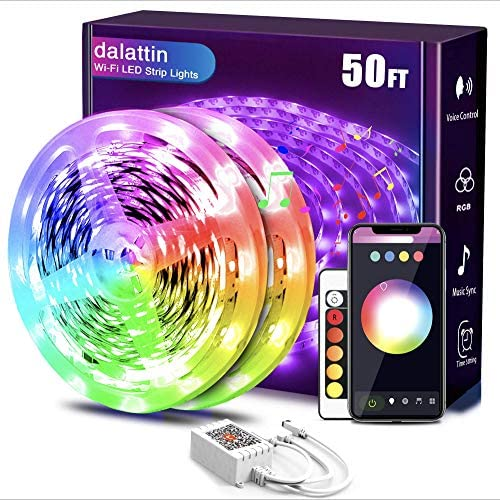 Smart Led Strip Lights WiFi 50ft,2 Rolls of 25ft,Dalattin Works with Alexa Led Lights Music Sync 5050 16 Million Colors Changing Phone App and 24 Key Remote for Rome,Kitchen