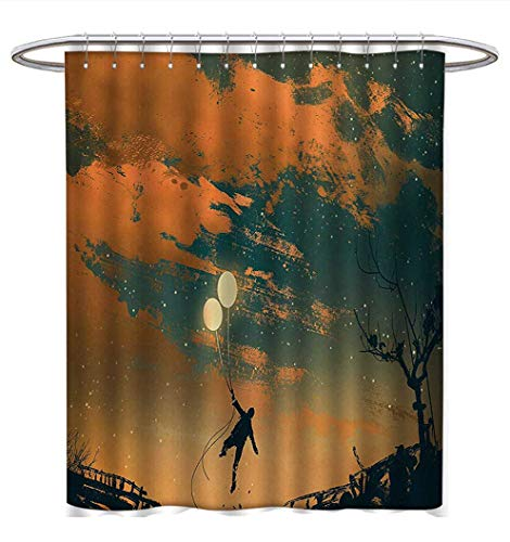 Fantasy Shower Curtains 3D Digital Printing Flying Man with Balloons in Sky Starry Night Freedom Fun Theme Illustration Fabric Bathroom Decor Set with Hooks W54 x L78 Orange Ash Gray