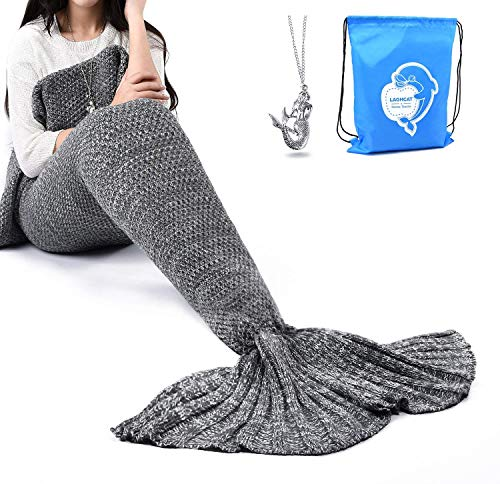 LAGHCAT Mermaid Tail Blanket Crochet Mermaid Blanket for Adult, Soft All Seasons Sleeping Blankets, Classic Pattern - 71x35.5 Inch, Gray