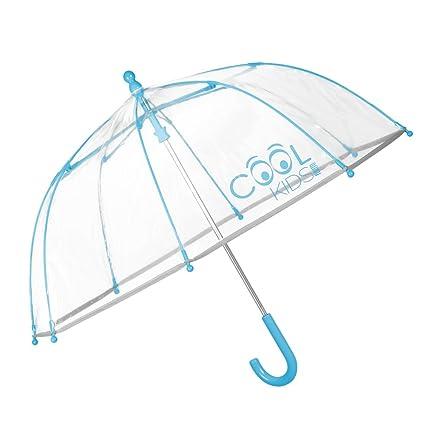 Paraguas Transparente Niño Niña Turquesa - Paraguas Infantil de Burbuja y Ribete Reflectante - Resistente Antiviento con Apertura de Seguridad - 3/6 ...