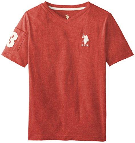 U.S. Polo Assn. Big Boys' Solid V-Neck T-Shirt, Nantucket Red Heather, 8