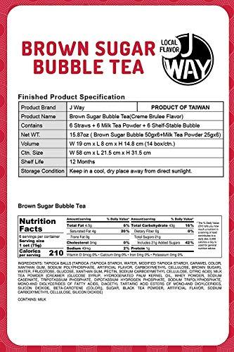 J WAY Boba Milk Tea Set (Classic Milk Tea with Brown Sugar Boba, 1 Box (6 Drinks))