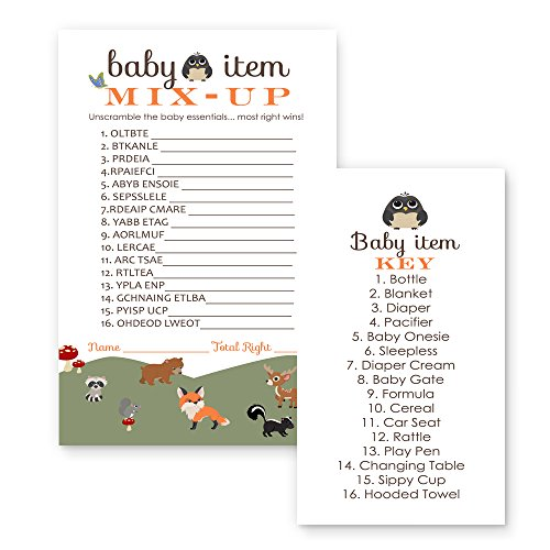 Woodland Critter Baby Shower Games Word Scramble Cards (25 Pack)