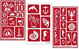 3 Armour Etch Over N Over Reusable Glass Etching Stencils Set | Nautical Theme | Paradise, Seashore, Under The Sea: more info