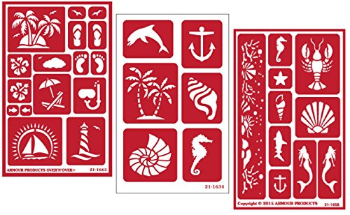 3 Armour Etch Over N Over Reusable Glass Etching Stencils Set | Nautical Theme | Paradise, Seashore, Under The ()