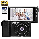 Dessports 24MP Digital Camera 4K Mini Point and Shoot 8X Zoom Camera 4.0Inches Touch Enable Anti-Shake HD Vlogging Video Camera for Youtube with Wide Angle Lens 16GB SD Card for Adults Outdoor Black