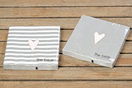 Servietten Papierservietten Herz Streifen Punkte grau Tischdeko Besteck 3 lagig 2er Set Landhaus