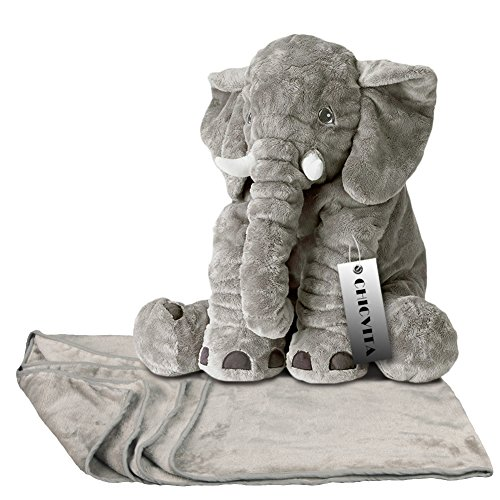 CHICVITA Large Stuffed Elephant Pillow Baby Toys Animals Plush Pillows Back with Blanket Toy