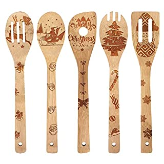 Wooden Engraved Spoons Sets Organic Bamboo Cooking Utensils Carved Spatulas Serving Spoons Kitchen Tools Great Christmas Baking Gifts (5 Pcs)
