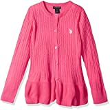 U.S. Polo Assn. Girls' Big Pullover Sweater, as Cable Cardi Medium Pink, 10/12