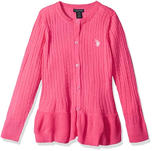 U.S. Polo Assn. Girls' Big Pullover Sweater, as Cable Cardi Medium Pink, 10/12 by U.S. Polo Assn.