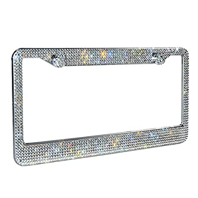 1 Pack Luxury Handcrafted Clear Rhinestone Premium Stainless Steel Bling License Plate Frame with Gift Box | 1000+ pcs Finest 14 Facets SS20 Clear Rhinestone Crystal | Anti-Theft Screw Cap: Automotive