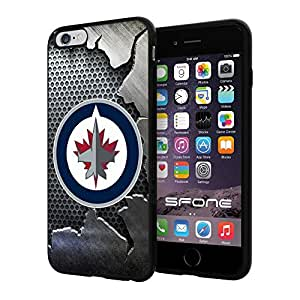 Winnipeg Jets 2 Iron NHL Logo WADE5140 iPhone 6+ 5.5 inch Case Protection Black Rubber Cover Protector