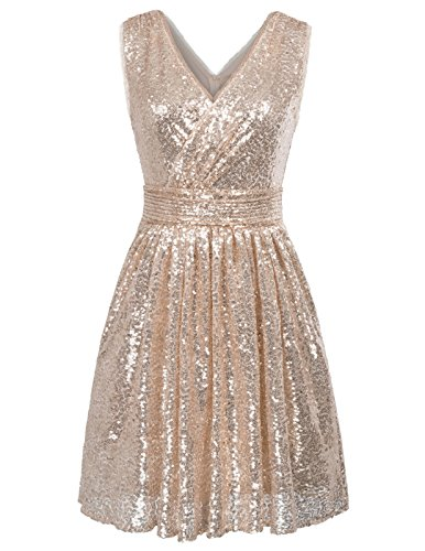 Kate Kasin Sleevesless Bling Sequined Cocktail Party Dress Pleated Prom Gown US14 KK1089 Rose Gold ()