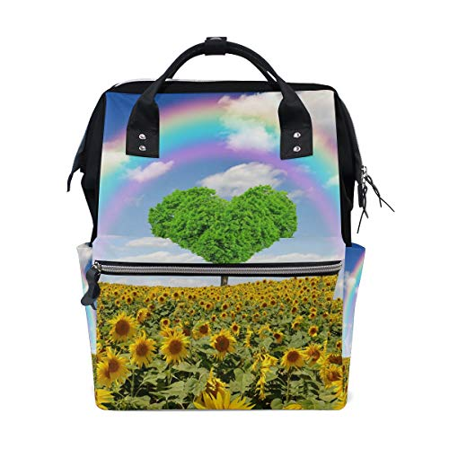 Diaper Bags Heart Tree In The Rainbow Sunflower Fashion Mummy Backpack Multi Functions Large Capacity Nappy Bag Nursing Bag for Baby Care for Traveling