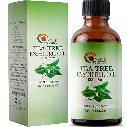 - 100% Pure Tea Tree Oil Natural Essential Oil with Antifungal Antibacterial Benefits for Face Skin Hair Nails Heal Acne Psoriasis Dandruff Piercings Cuts Bug Bites Multipurpose Surface Cleaner