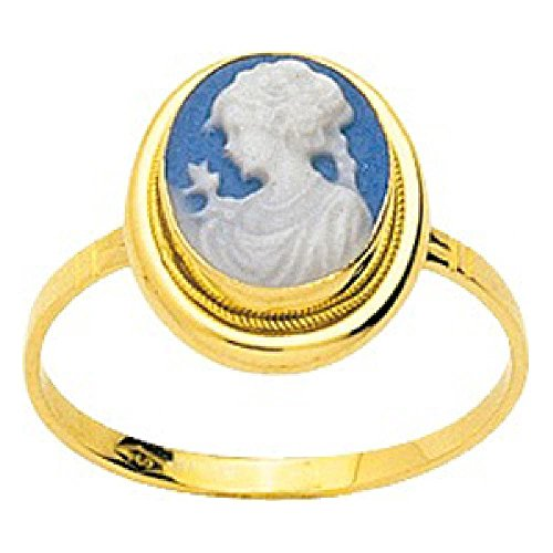 Porcelain Cameo Ring - So Chic Jewels - Ladies 18k Yellow Gold Blue Porcelain Cameo Ring - Size 12.5