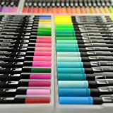 #6: GC 72 Colors Dual Tip Brush Pen Highlighter 72 Art Markers 0.4mm Fine liners & Brush Tip Watercolor Pen Set for Adult and kids Coloring Books Bullet Journal, Calligraphy, Hand Lettering, Note Taking