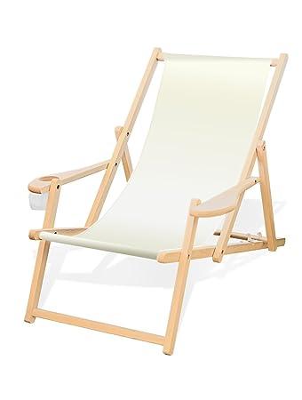 Liegestuhl Holz Mit Armlehne.Holz Liegestuhl Mit Armlehne Und Getränkehalter Klappbar Wechselbezug Weiß