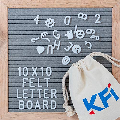 Changeable Letter Board with Wooden Easel - Felt Letter Board 10x10 340 Letters/Numbers/Characters/Emojis/Wall-Mount, Rustic Oak Frame, Drawstring Letter Pouch, Great Substitute for White Boards