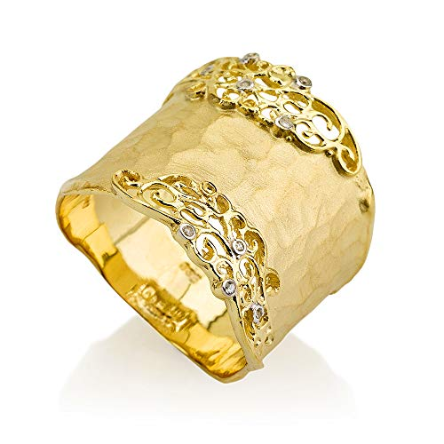 I REISS 14K Yellow Gold 0.06ct TDW Diamond Accent Filigree Cigar Ring
