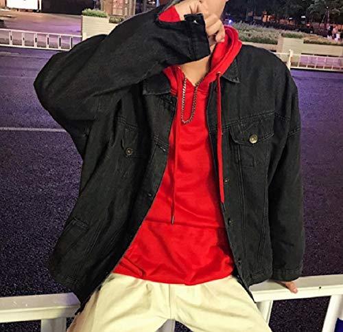 Down Black Chest Denim XINHEO Jean Bomber Pockets Jacket Loose Men Collar Turn PqpqX