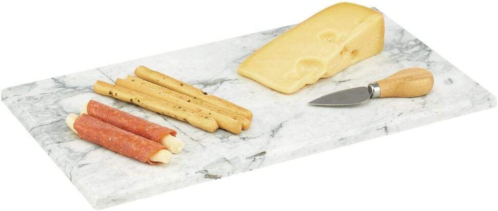 mDesign Modern Marble Pastry Board for Food, Tea, Coffee, Breakfast, Snacks, Cheese, Appetizers - Use in Kitchen, Bathroom, Office - Marble