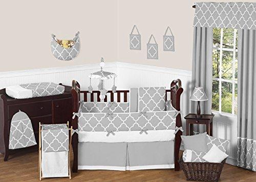 Sweet Jojo Designs Gray and White Trellis Print Lattice Musical Baby Crib Mobile