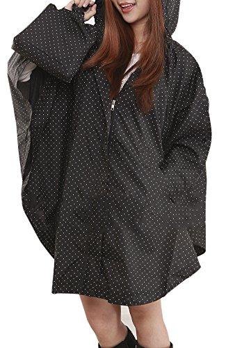 QZUnique Women's Waterproof Packable Rain Jacket Batwing-sleeved Poncho Raincoat Black Spots