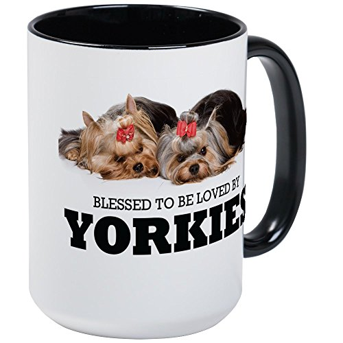 CafePress - Blessed By Yorkies Large Mug - Coffee Mug, Large 15 oz. White Coffee (Terrier Large Mug)