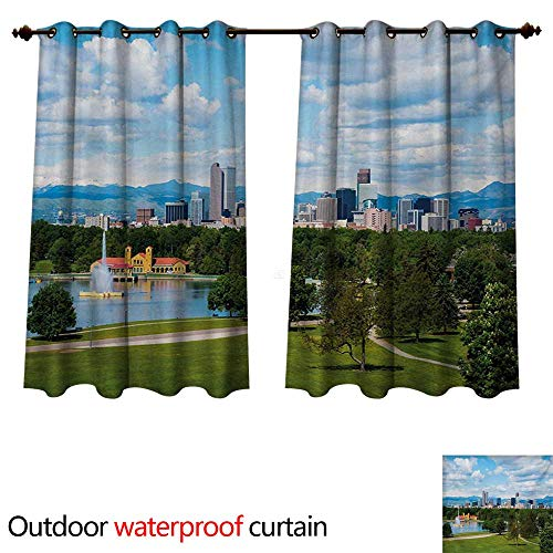 WilliamsDecor Urban Outdoor Balcony Privacy Curtain City Park at Denver Colorado Downtown Tree and Architecture Sunny Panorama W96 x L72(245cm x 183cm) (Best Privacy Trees Colorado)