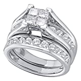 10k White Gold Princess Diamond Engagement Ring & Wedding Band Set Bridal Set Cluster Style Rings 1/2 ctw