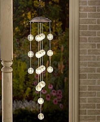 Solar Lighted Orb Spheres Garden Chandelier Mobile Outdoor Decoration