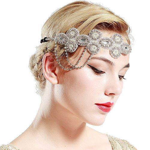 BABEYOND 1920s Flapper Headband Crystal Great Gatsby Themed Wedding Headpiece Roaring 20s Flapper Gatsby Hair Accessories (Silver)