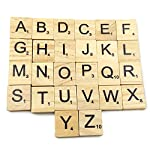 Gospire 100 Pieces Smooth Wooden Letter Tiles Game Complete Set for Crafts Pendants and Spelling
