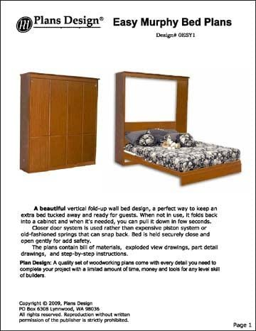 Easy Murphy Wall Queen, Full, Twin Bed Project Plans - Design #0ESY1