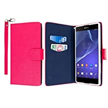 Sony Xperia T2 Ultra Case, MPERO FLEX FLIP Series Premium PU Leather Wallet [3 Pockets] Inner Flexible TPU Slim Fit Case for Xperia T2 Ultra with Magnetic Flap & Hand Strap [Perfect Fit & Precise Port Cut Outs] - Hot Pink