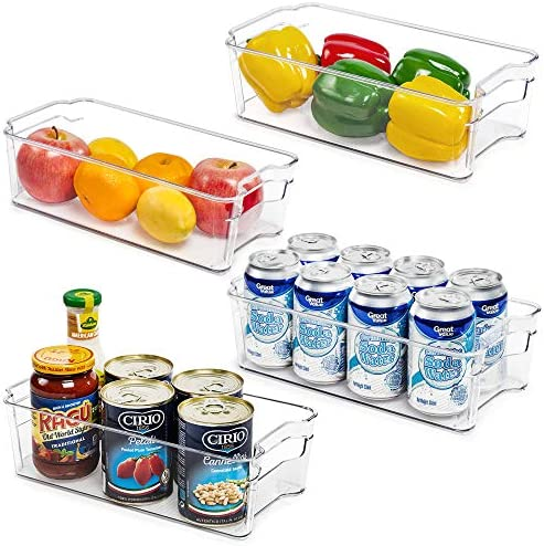 Refrigerator Organizer Bins, Vtopmart 4 Pack Medium Clear Plastic Food Storage Bin with Handle for Freezer, Cabinet, Fridge, Kitchen Pantry Organization and Storage, BPA Free, 12.5″ Long