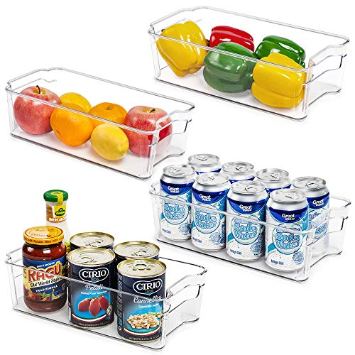 Refrigerator Organizer Bins, Vtopmart 4 Pack Medium Clear Plastic Food Storage Bin with Handle for Freezer, Cabinet…