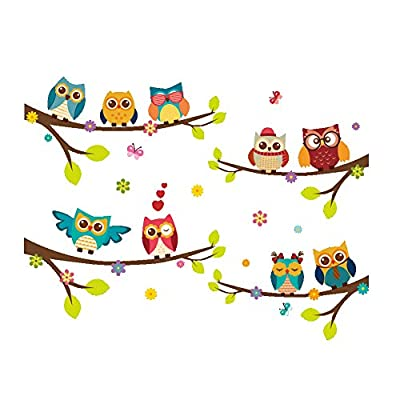ElecMotive Wall Stickers of Tree Owls Wall Decals for Kids Rooms Nursery Baby Boys & Girls Bedroom