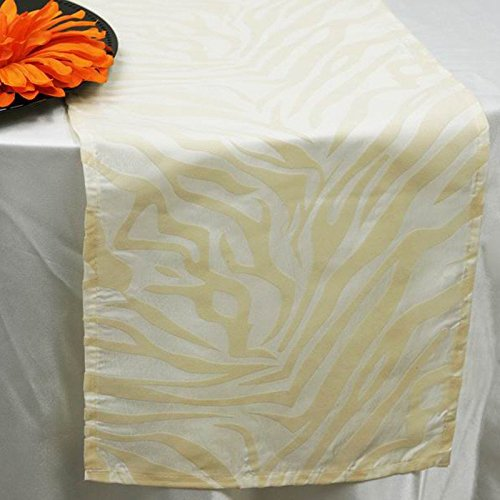 BalsaCircle 12 x 108-Inch Ivory Safari Animal Print Zebra Table Top Runner - Wedding Party Reception Linens Decorations (Zebra Ivory)