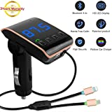 #4: Bluetooth FM Transmitter For Car With Radio Aux, LUTU Wireless In-Car Bluetooth Receiver Car MP3 Player Stereo Radio Aux Adapter Car Kit Supports TF/SD Card USB Car Charger For All Smartphones -GOLDEN