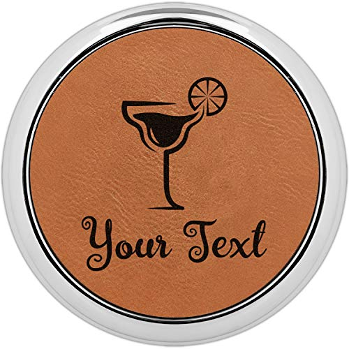 Cocktails Set of 4 Leatherette Round Coasters w/Silver Edge (Personalized) ()