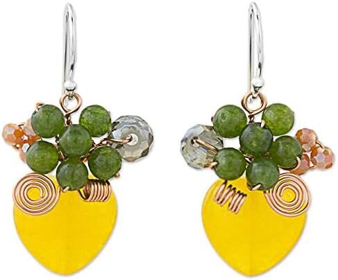 NOVICA Quartz .925 Sterling Silver Beaded Earrings 'Love Garden in Yellow'