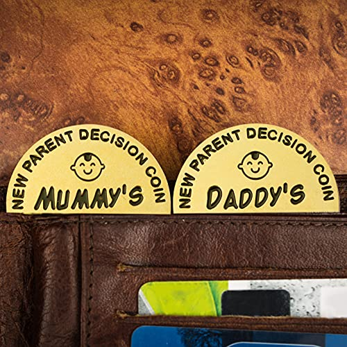 J.CARP New Baby Gifts for Mom Daddy Funny Parent Decision Coin for Women Men Pregnancy Mothers for First Time Moms Dads Christmas Birthday Present Mummy to Be Double-Sided