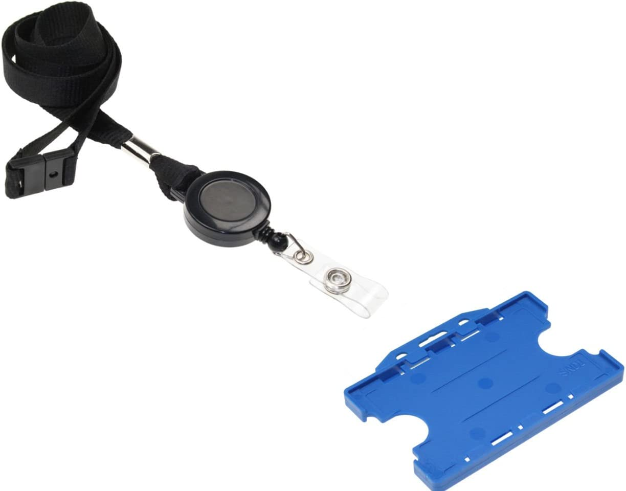 ID Card It Blue ID Badge Holder 2-Sided with Black Lanyard Neck Strap and Integrated Yo-Yo Badge Reel 50