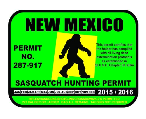 New Mexico Sasquatch Hunting Permit License Bigfoot Vinyl Sticker Decal