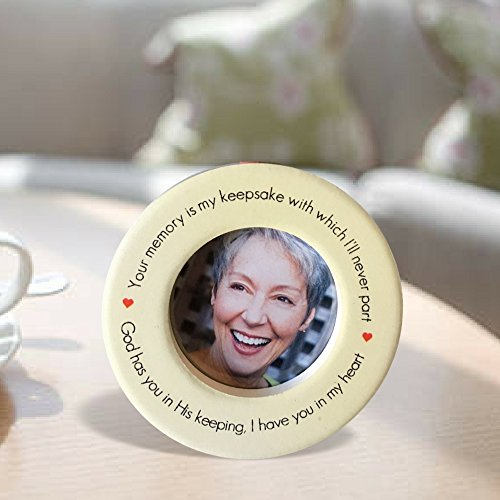 BANBERRY DESIGNS Remembrance Desktop Frame - Ceramic Picture Frame with Red Velvet String Attached to Use as a Christmas Ornament - in Loving Memory 2